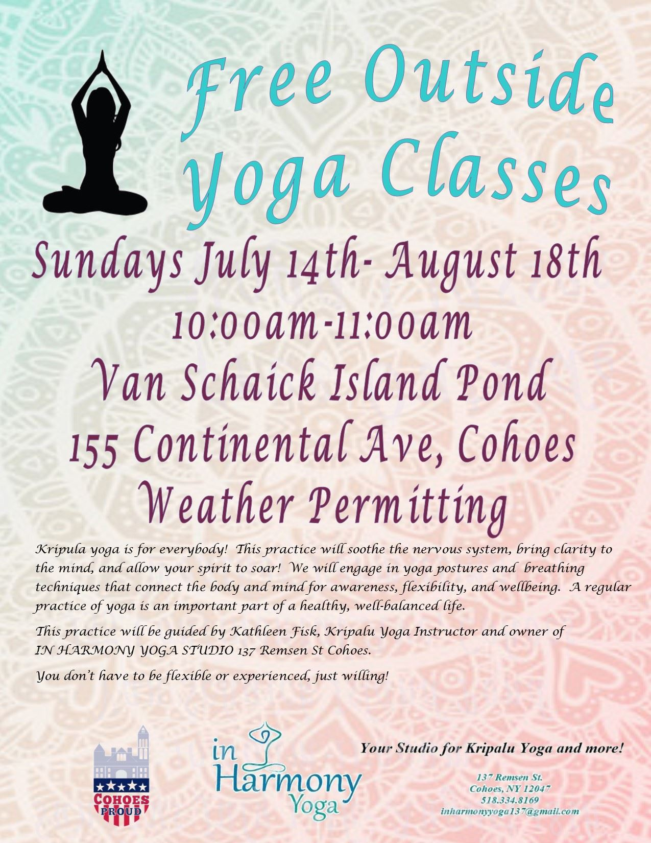 Free yoga classes flyer 2019
