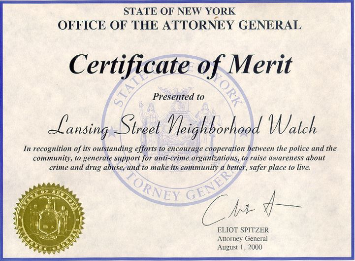 Certificate of Merit Award for Lansing Street Neighborhood Watch