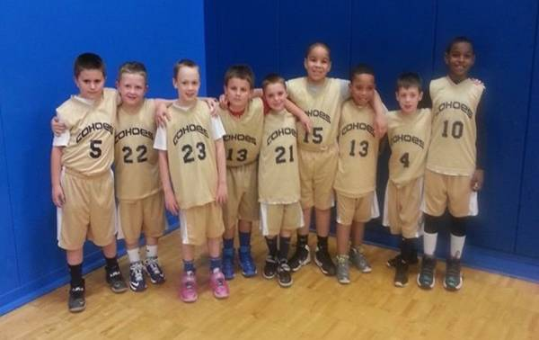 A group of kids in basketball uniforms.