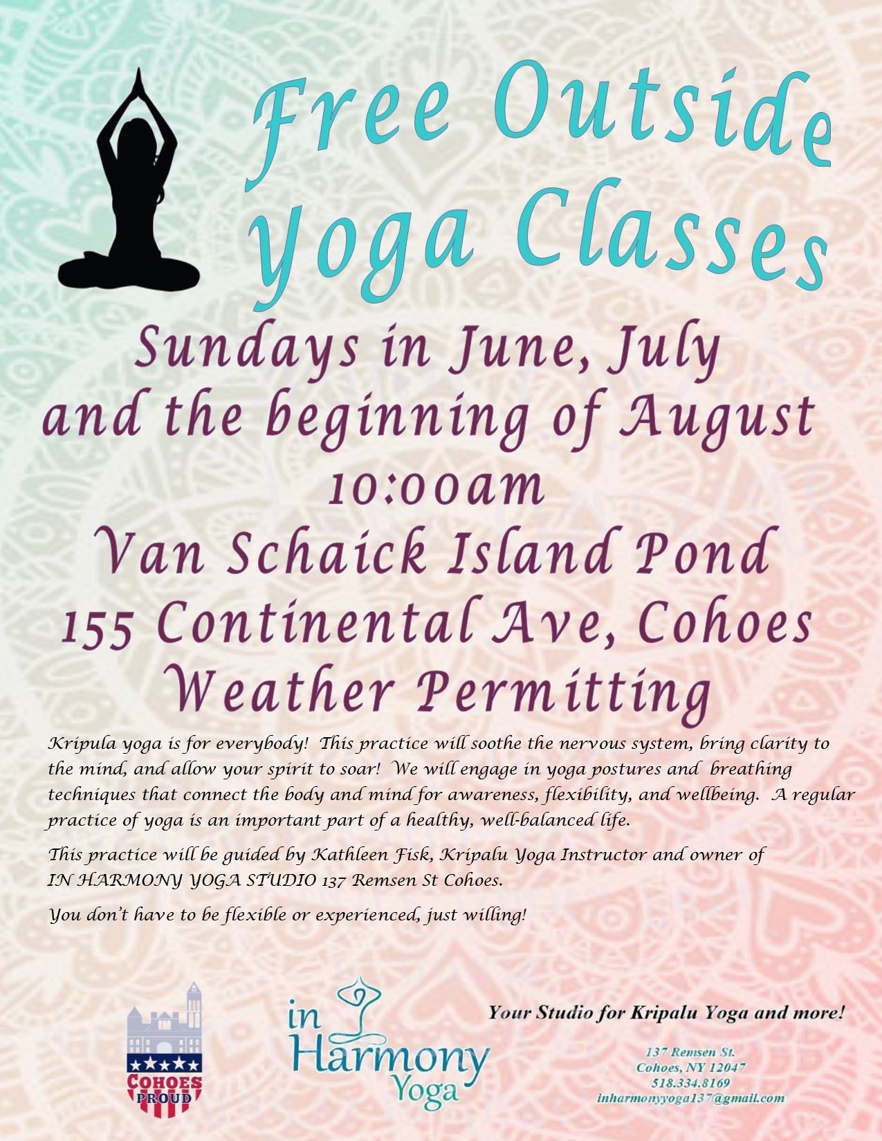 Free yoga classes flyer