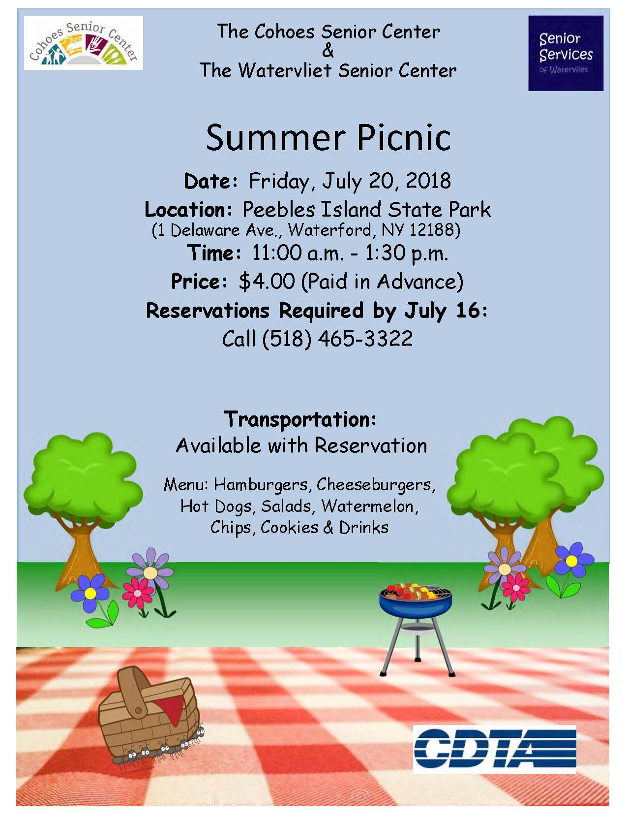 2018 Cohoes Summer Picnic Flyer