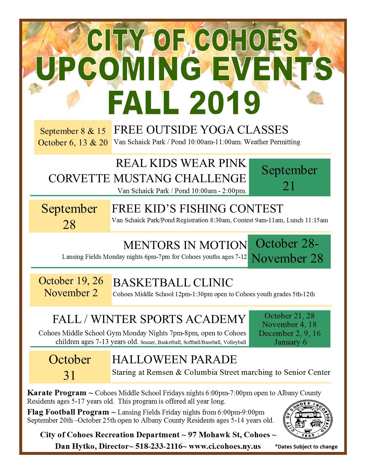 Upcoming events fall 2019