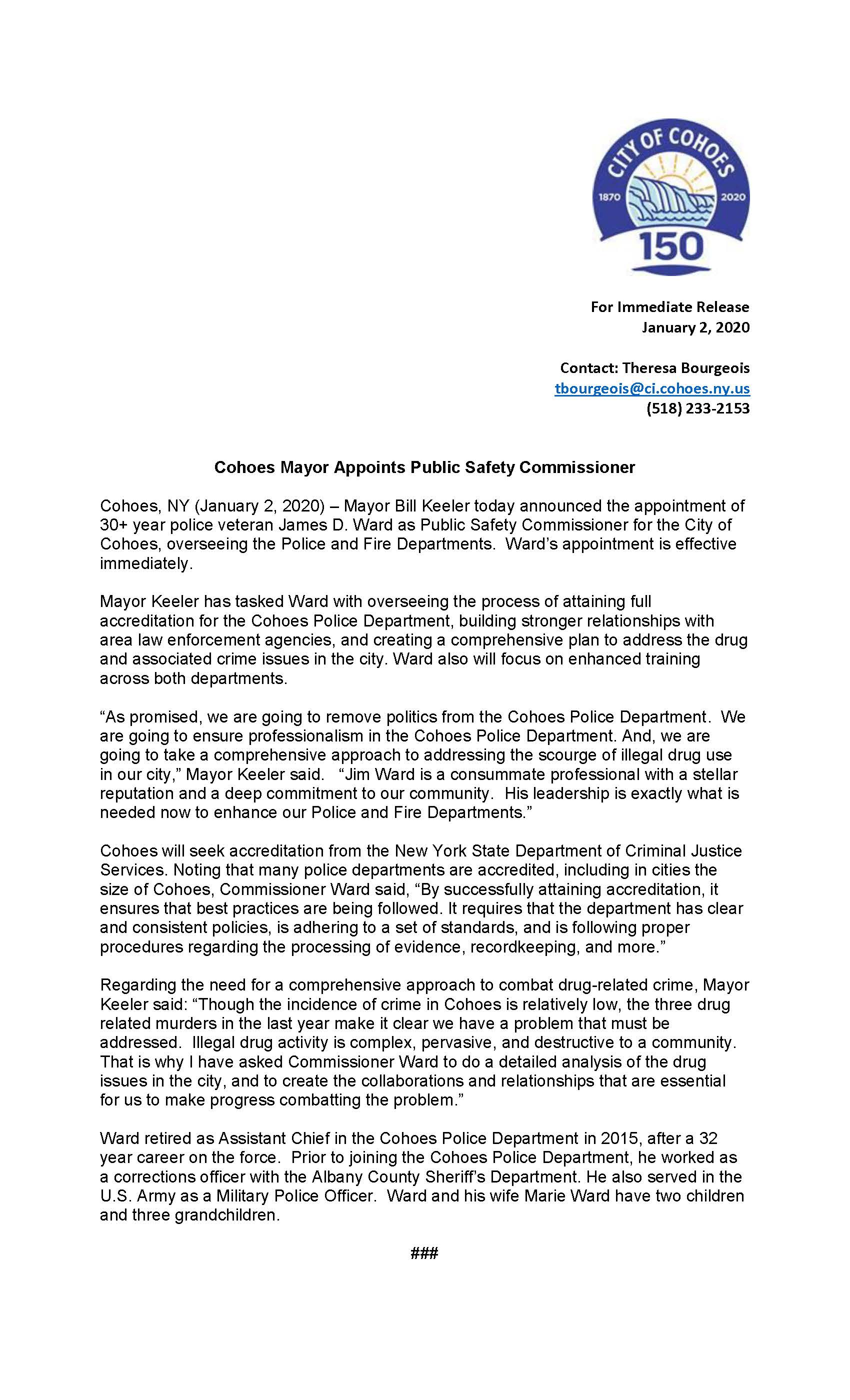 Public Safety Commissoner Press release