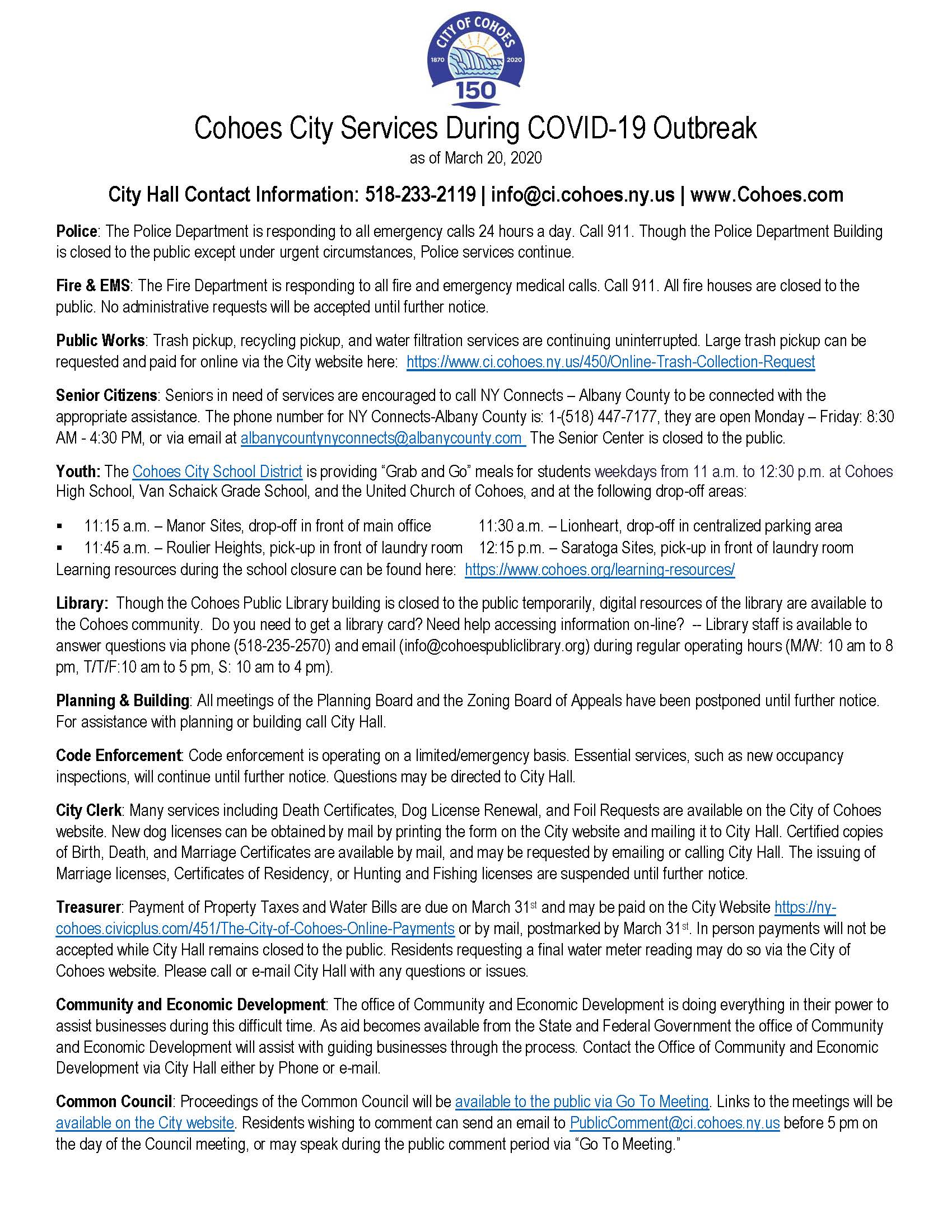 COVID City Services as of March 20 2020 Fact Sheet (final)