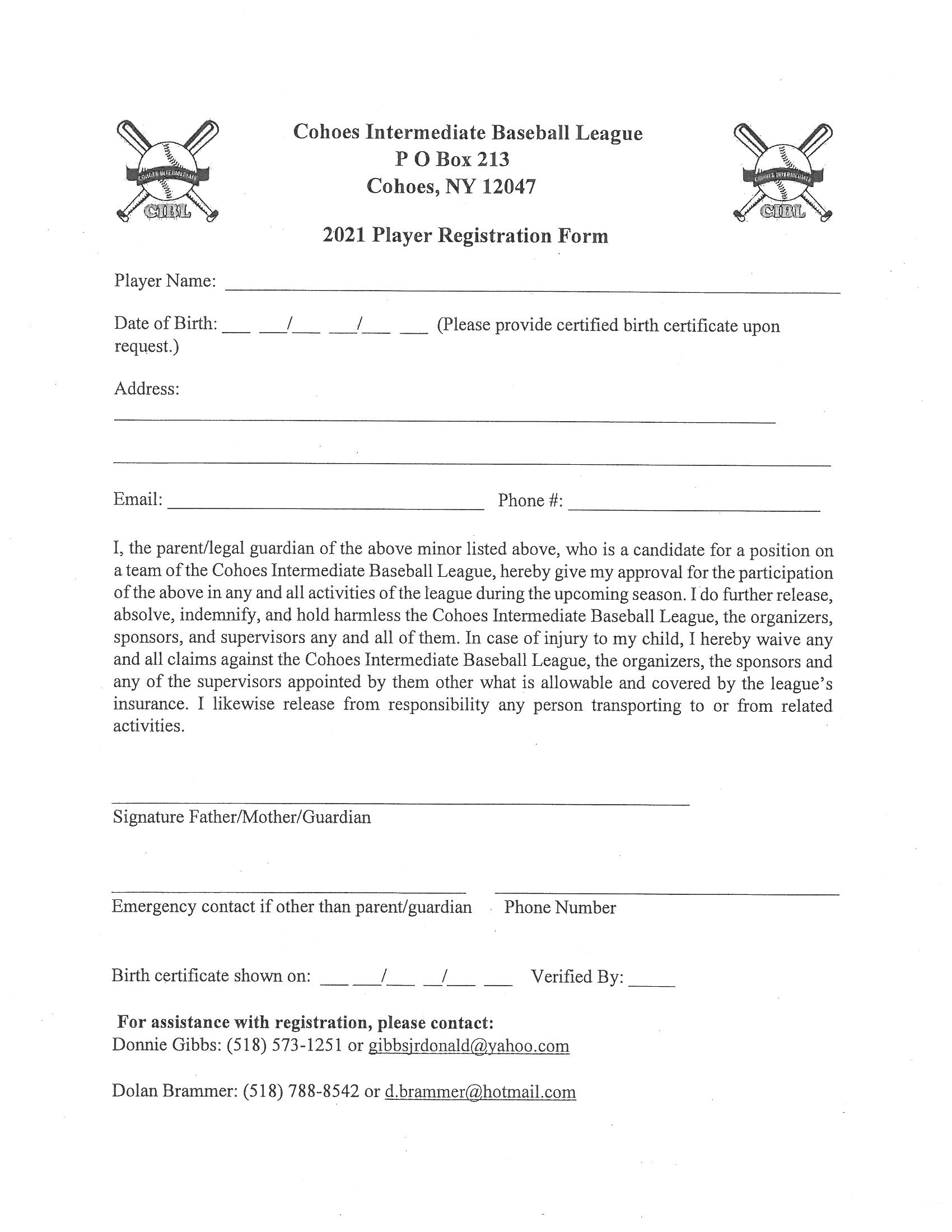 Cohoes Intermediate Baseball Registration Form