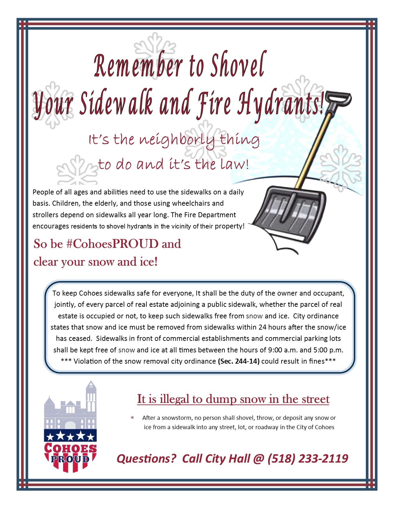 Sidewalk and Hydrant snow removal Flyer